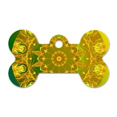 Yellow Green Abstract Wheel Of Fire Dog Tag Bone (One Sided)