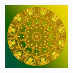 Yellow Green Abstract Wheel Of Fire Glasses Cloth (Medium, Two Sided)