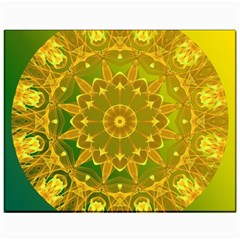 Yellow Green Abstract Wheel Of Fire Canvas 11  X 14  (unframed)