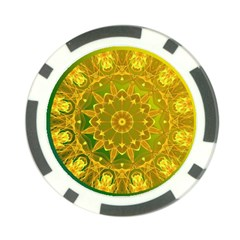 Yellow Green Abstract Wheel Of Fire Poker Chip