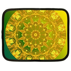 Yellow Green Abstract Wheel Of Fire Netbook Sleeve (large)