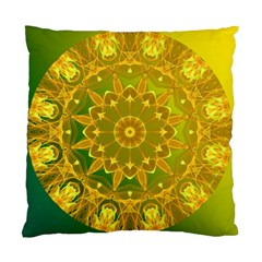 Yellow Green Abstract Wheel Of Fire Cushion Case (Two Sided)