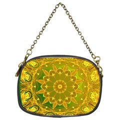 Yellow Green Abstract Wheel Of Fire Chain Purse (two Sided)