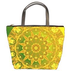 Yellow Green Abstract Wheel Of Fire Bucket Handbag