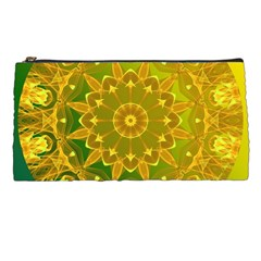 Yellow Green Abstract Wheel Of Fire Pencil Case
