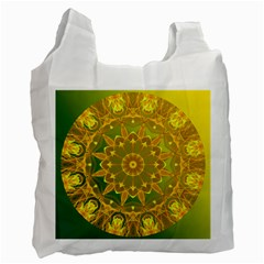 Yellow Green Abstract Wheel Of Fire White Reusable Bag (two Sides)