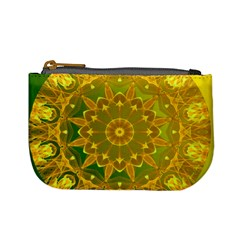 Yellow Green Abstract Wheel Of Fire Coin Change Purse