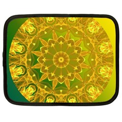 Yellow Green Abstract Wheel Of Fire Netbook Sleeve (xl)