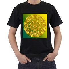 Yellow Green Abstract Wheel Of Fire Men s T Shirt (black)