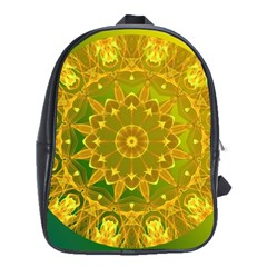 Yellow Green Abstract Wheel Of Fire School Bag (Large)