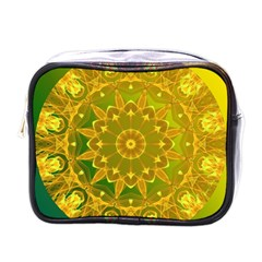 Yellow Green Abstract Wheel Of Fire Mini Travel Toiletry Bag (one Side)