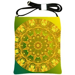 Yellow Green Abstract Wheel Of Fire Shoulder Sling Bag