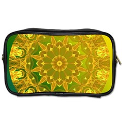 Yellow Green Abstract Wheel Of Fire Travel Toiletry Bag (two Sides)