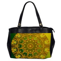 Yellow Green Abstract Wheel Of Fire Oversize Office Handbag (One Side)