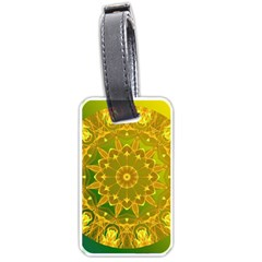 Yellow Green Abstract Wheel Of Fire Luggage Tag (One Side)