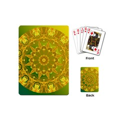 Yellow Green Abstract Wheel Of Fire Playing Cards (Mini)