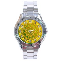 Yellow Green Abstract Wheel Of Fire Stainless Steel Watch
