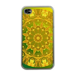 Yellow Green Abstract Wheel Of Fire Apple Iphone 4 Case (clear)