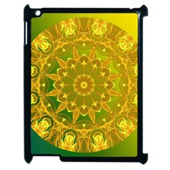Yellow Green Abstract Wheel Of Fire Apple iPad 2 Case (Black)