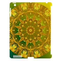 Yellow Green Abstract Wheel Of Fire Apple iPad 3/4 Hardshell Case (Compatible with Smart Cover)