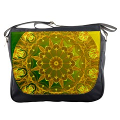 Yellow Green Abstract Wheel Of Fire Messenger Bag