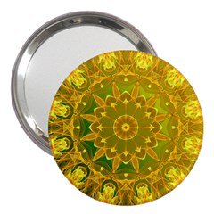 Yellow Green Abstract Wheel Of Fire 3  Handbag Mirror