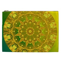 Yellow Green Abstract Wheel Of Fire Cosmetic Bag (xxl)