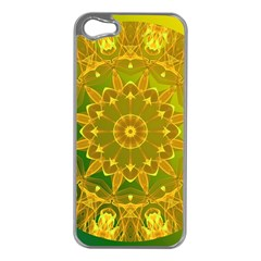 Yellow Green Abstract Wheel Of Fire Apple Iphone 5 Case (silver)