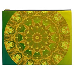 Yellow Green Abstract Wheel Of Fire Cosmetic Bag (XXXL)