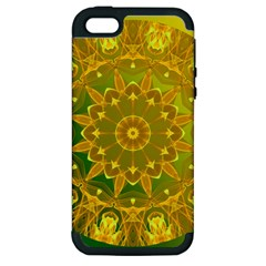 Yellow Green Abstract Wheel Of Fire Apple Iphone 5 Hardshell Case (pc+silicone)