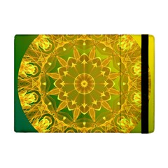 Yellow Green Abstract Wheel Of Fire Apple iPad Mini Flip Case