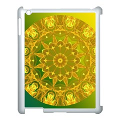 Yellow Green Abstract Wheel Of Fire Apple iPad 3/4 Case (White)