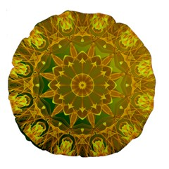 Yellow Green Abstract Wheel Of Fire 18  Premium Round Cushion