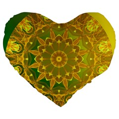 Yellow Green Abstract Wheel Of Fire 19  Premium Heart Shape Cushion