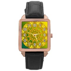 Yellow Green Abstract Wheel Of Fire Rose Gold Leather Watch