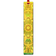 Yellow Green Abstract Wheel Of Fire Large Bookmark