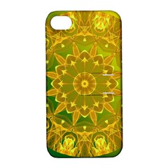 Yellow Green Abstract Wheel Of Fire Apple Iphone 4/4s Hardshell Case With Stand