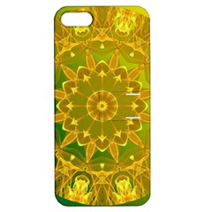 Yellow Green Abstract Wheel Of Fire Apple Iphone 5 Hardshell Case With Stand