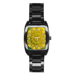 Yellow Green Abstract Wheel Of Fire Stainless Steel Barrel Watch