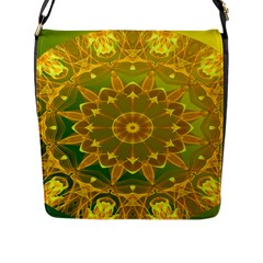 Yellow Green Abstract Wheel Of Fire Flap Closure Messenger Bag (Large)