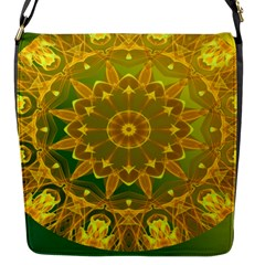 Yellow Green Abstract Wheel Of Fire Flap Closure Messenger Bag (Small)