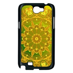 Yellow Green Abstract Wheel Of Fire Samsung Galaxy Note 2 Case (Black)