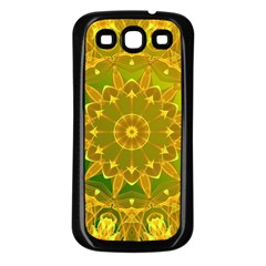 Yellow Green Abstract Wheel Of Fire Samsung Galaxy S3 Back Case (Black)