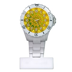 Yellow Green Abstract Wheel Of Fire Nurses Watch