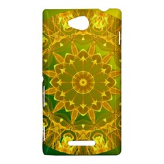 Yellow Green Abstract Wheel Of Fire Sony Xperia C (S39H) Hardshell Case