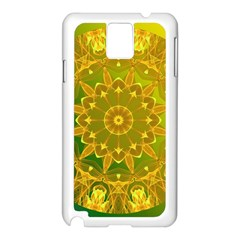 Yellow Green Abstract Wheel Of Fire Samsung Galaxy Note 3 N9005 Case (White)