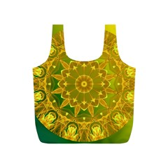 Yellow Green Abstract Wheel Of Fire Reusable Bag (S)