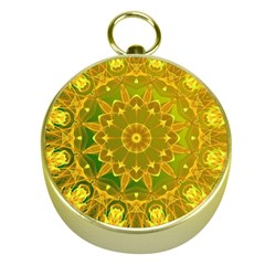 Yellow Green Abstract Wheel Of Fire Gold Compass