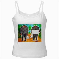 2 Yowie H,text & Furry In Outback, White Spaghetti Tank