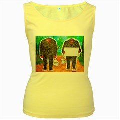 2 Yowie H,text & Furry In Outback, Women s Tank Top (Yellow)